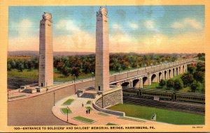 Pennsylvania Harrisburg Entrance To Soldiers and Sailors Memorial Bridge Curt...