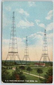 Fort Myer Virginia~US Wireless Station~Telegraph Towersin Open Field~c1910 PC