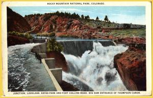 Rocky Mountain National Park, Colo., Big Dam at entrance of Thompson Creek-