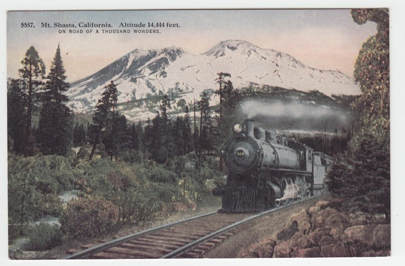 P1981, old postcard  RR train steam view mt shasta calif road thousand wonders
