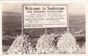 Arizona Welcome To Tombstone & Boothill Graveyard Sign Real Photo
