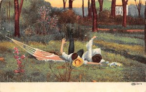 Tennis Post Card All is Well that Ends Well Man and Woman Fall out of Hammock...