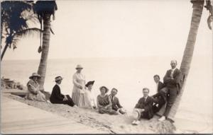Family Group Portrait Ocean Palm Trees Unknown Loc Real Photo Postcard E30