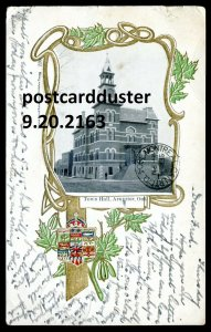2163 - ARNPRIOR Ontario Postcard 1904 Town Hall. Patriotic Maple Leaf by Warwick