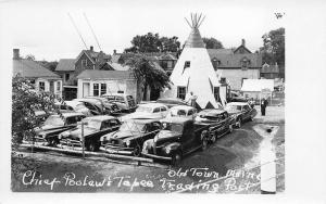 Old Town ME Chief Poolaw's Tepee Trading Post Old Cars RPPC