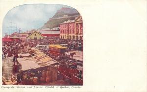 Ancient Citadel Quebec Ontario~Champlain Market~Horse Trolley~Crowds~1910