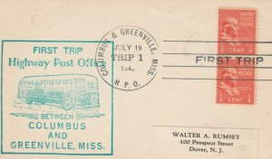 GREENVILLE, Mississippi, 1940 ; 1st Highway Post Office