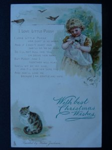WITH BEST CHRISTMAS WISHES I Love Little Pussy 1905 Postcard Raphael Tuck 6749