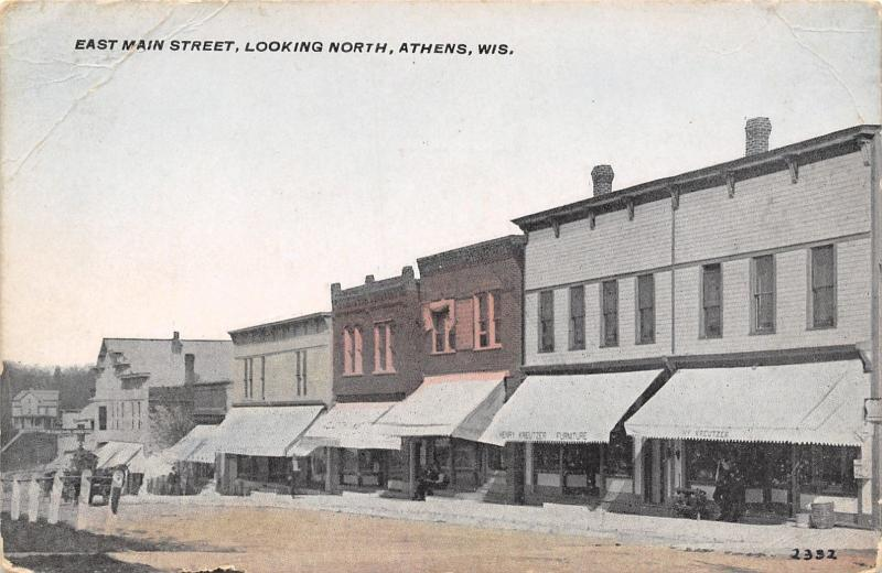 Athens Wisconsin~East Main Street~Henry Kruetzer Furniture~Store  Awnings~1910 PC