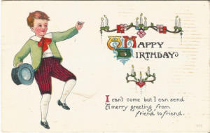 A Happy Birthday Little Victorian Boy Dressed up for Birthday Party Vintage Post