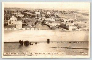 American Falls ID~Underwater Ghost Town~Bakery~Barber Shop~Mill~1926~1927 RPPC