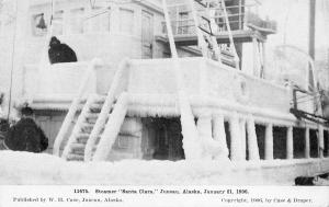 Juneau Alaska~Steamer Santa Clara Covered in Ice~January 21 1906~B&W Postcard