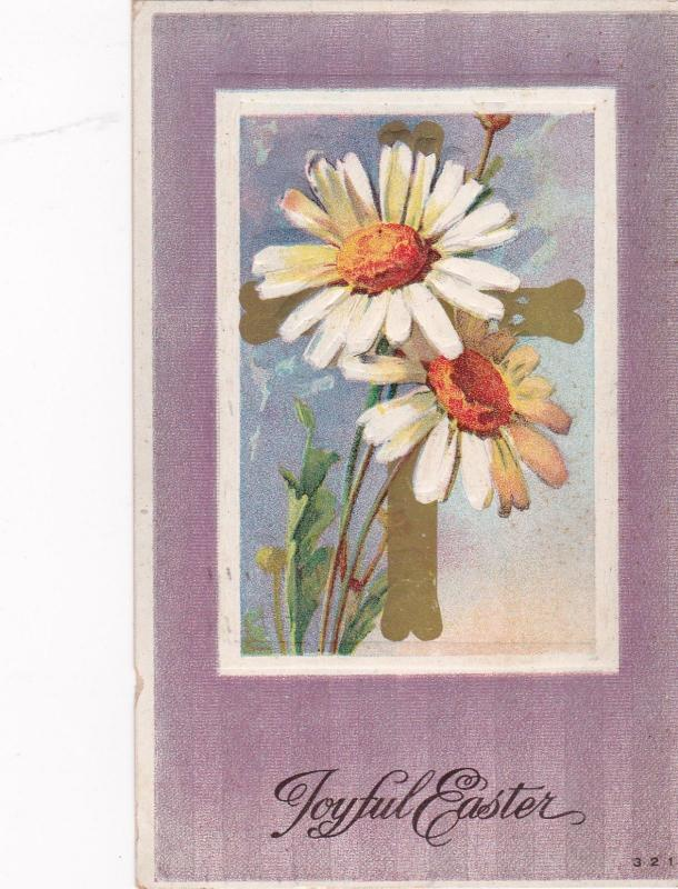 EASTER, PU-1911; Daisies and Gold Cross