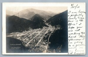 WALLACE ID BIRDS EYE VIEW ANTIQUE REAL PHOTO POSTCARD RPPC