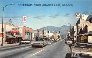 Grants Pass OR Street View Store Fronts Music Shop Old Cars Postcard