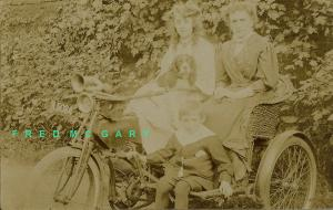 1909 London England RPPC: Family on Kerry Motorcycle With Basket Side Car--Ra...