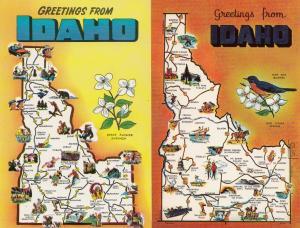 Greetings From Idaho 2x Map Postcard s