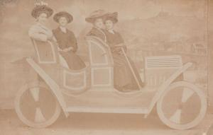 Ladies In Giant Toy Model Seaside Car Antique Real Photo Postcard