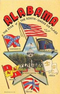 ALABAMA Under Six Flags State Capitol 1949 Vintage Postcard