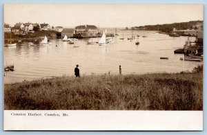 1907 ERA RPPC CAMDEN MAINE HARBOR*MAN*BOATS*ARTURA*UNUSED REAL PHOTO POSTCARD
