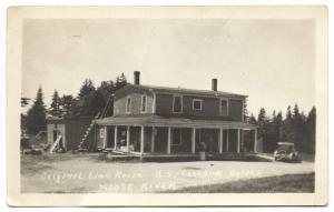 Moose River ME Line House Old Car Jackman Canada RPPC Real Photo Postcard