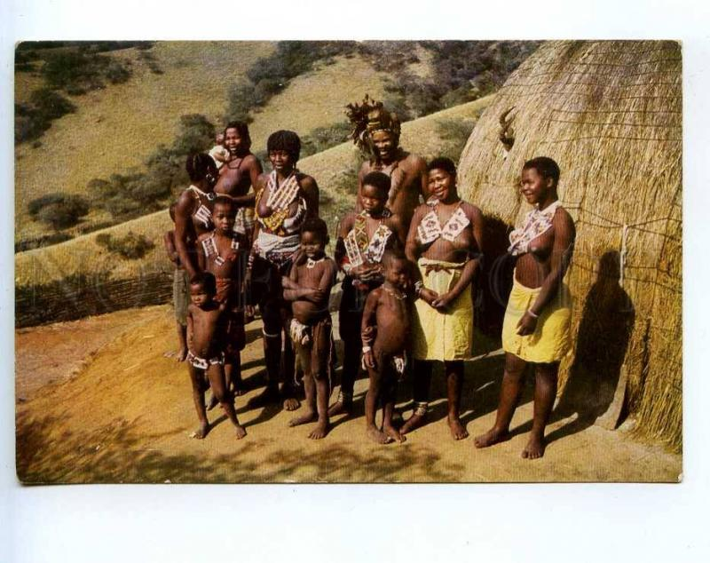 241545 SOUTH AFRICA Zulu Family nude girls NATAL Old postcard