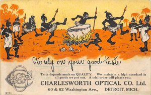 Blacks Post Card Charlesworth Optical Co. Detroit, Michigan, USA 1905