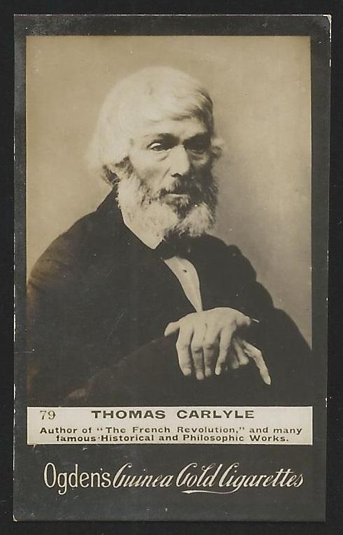 Ogden's Guinea Gold THOMAS CARLYLE Cigarettes Card. Usual Small faults