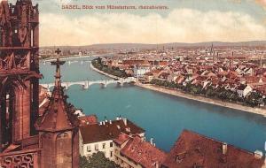 Switzerland Basel, Blick vom Muensterturm, rheinabwaerts, panorama 1915