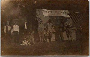 Vintage HUNTING Real Photo RPPC Postcard Camp Scene Hunters Dog c1910s Unused