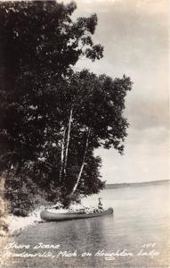 Prudenville Michigan~Coule Canoeing along Houghton Lake Shoreline~1940s RPPC