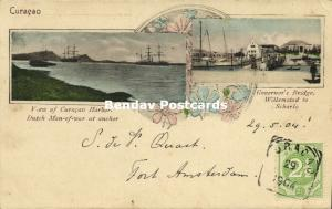 curacao, WILLEMSTAD, Bridge to Scharlo, Harbor with Dutch Man-of-War 1904 Stamp