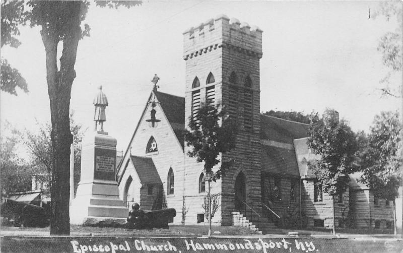 Hammondsport NY~Episcopal Church~Monument & Cannon Display~c1915 Real Photo PC