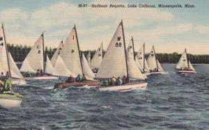Minnesota Minneapolis Sailboat Regatta On Lake Calhoun Curteich