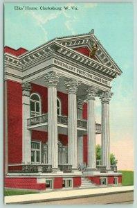 Clarksburg West Virginia~Elks Home~BPOE Lodge~Head Mount Over 2 Story Porch~1910