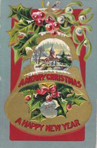A Merry Christmas and a Happy New Year, Winter Scene, Gold Bell, Holly and Mi...
