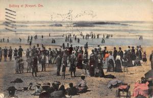 Newport Oregon Bathing Beach Scene Antique Postcard K32301