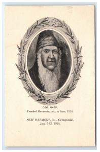 Postcard Geo. Rapp Founded Hermonie, IN June 1814 G15
