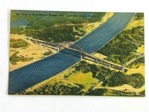 Vintage Postcard 1930's Air View of New Bourne Bridge over Cape Cod Canal MA