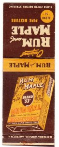 Rum & Maple pipe tobacco matchbook cover