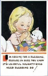 Artist Signed Mabel Lucie Attwell No. 5501, I'm Asking for a Blessing!
