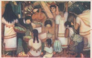 Mexico Market Scene Colonial Period Fresco de Diego Rivera