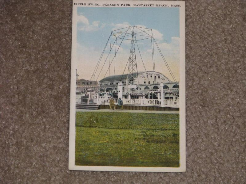 Circle Swing Paragon Park by Night,  Nantasket Beach, Mass., unused vintage card