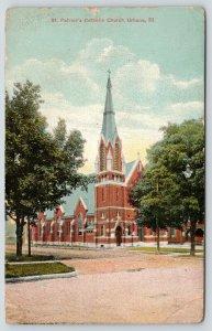 Urbana Illinois~St Patrick's Catholic Church~Tall Steeple~1929 Postcard
