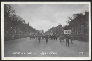 Soldiers Marching American Legion Parade Convention FRANCE RPPC Unused c1927