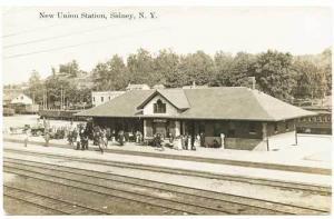 Sidney NY Union Station Railroad Train Depot RPPC Real Photo Postcard