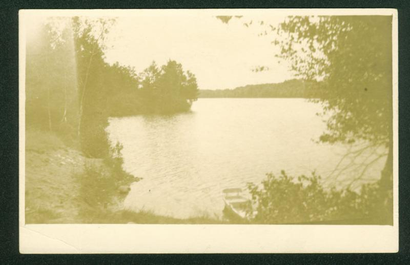 West Buxton Maine Shore View and Boat Real Photo Postcard Vintage RPPC