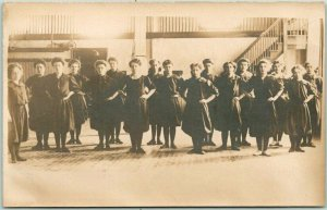 1910s RPPC Real Photo Postcard School - Girls in P.E. Physical Education Class