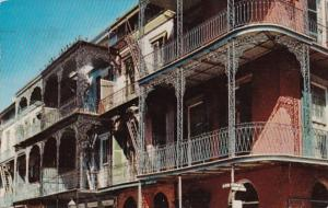Louisiana New Orleans Lace Balconies St Peter Street 1956