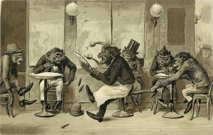Closset/Devers Trade Card Dressed Monkeys Harrassed Waiter Spills Drinks, Cigars